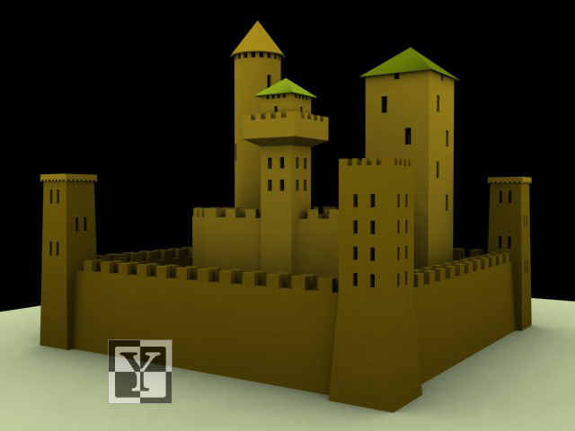 Castello in 3ds Max renderizzato con Scanline